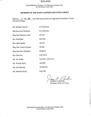 Primary view of object titled 'Base Closure Executive Group (BCEG).membership list signed and approved by Secretary of the Air Force James Roche 03/07/03.'.