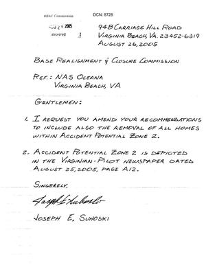 Primary view of object titled 'Letter from residents near NAS Oceana to the BRAC Commisson.'.