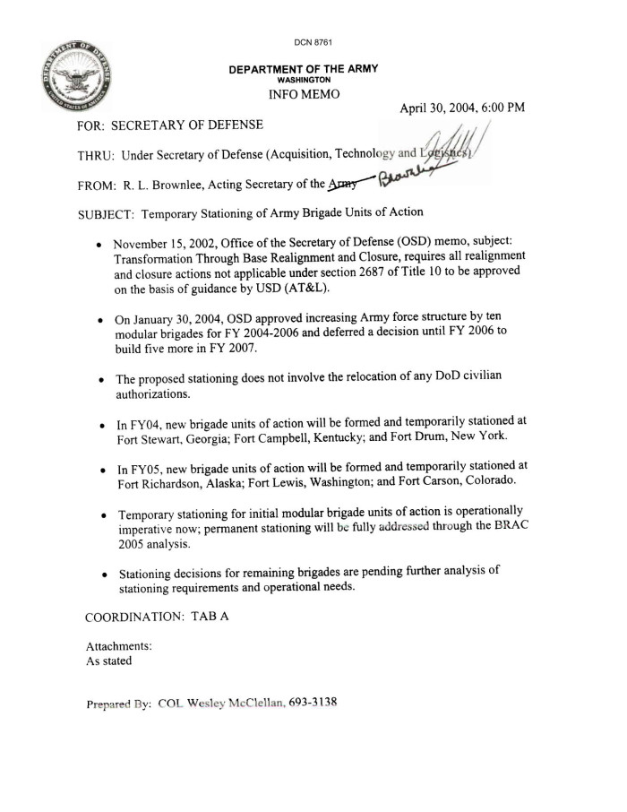 "Dept of the Army Force Structure - Info Memo, ""Temporary ..."