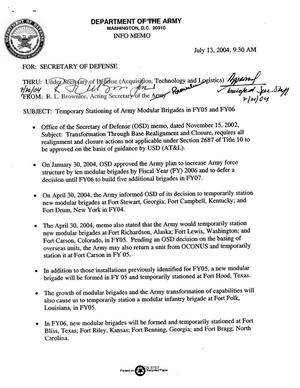"Primary view of object titled 'Dept of the Army Force Structure - Info Memo, ""Temporary Stationing of Army Modular Brigades in FY05 and FY06,"" (13 Jun 04)'."