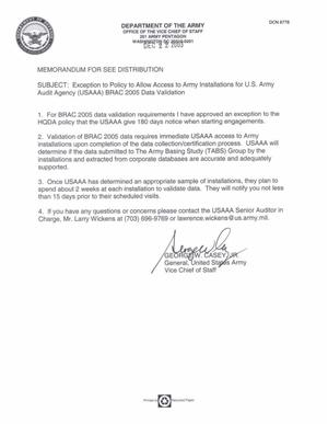 Dept Of The Army Auditing Docs Memo Exception To Policy To