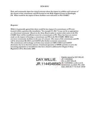 Primary view of object titled 'Department of Defense Clearinghouse Response: DoD Clearinghouse Response to a letter from the BRAC Commission regarding Pitt USARC.'.