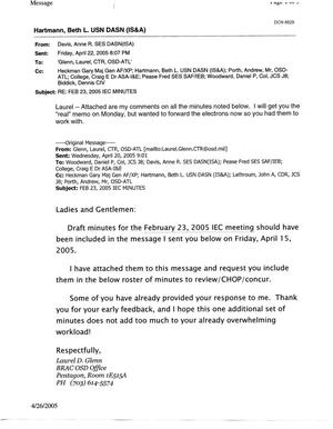 Primary view of object titled 'Email from Ann Davis DASN, ISA, Regarding 23 Feb 2005 IEC Minutes'.