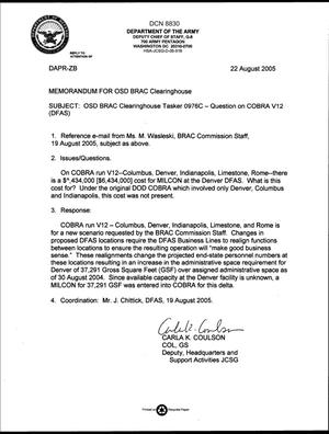Primary view of object titled 'Department of Defense Clearinghouse Response: DoD Clearinghouse Response to a letter from the BRAC Commission regarding DFAS COBRA Run V12.'.