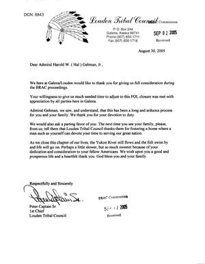 Primary view of object titled 'Letters from the Louden Tribal Council (AK) to BRAC dtd 2 Sep 2005'.