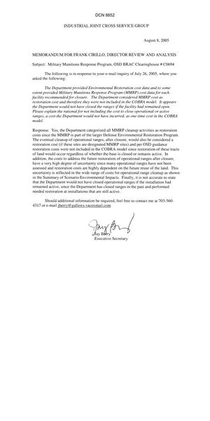 Primary view of object titled 'Department of Defense Clearinghouse Response: DoD Clearinghouse Response to a letter from the BRAC Commission regarding military munitions response pograms.'.