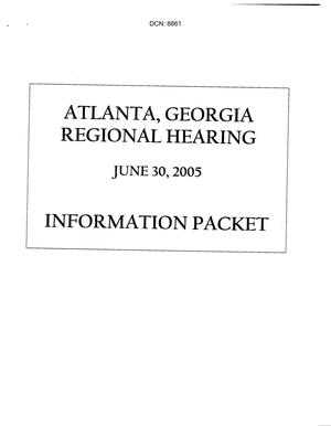 Primary view of object titled 'Atlanta, GA Regional Hearing Book dtd 30 June 2005'.