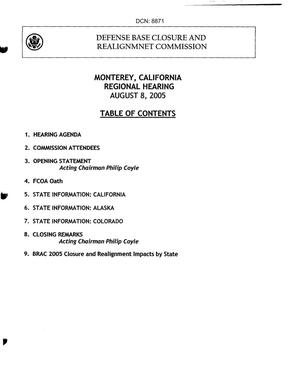 Primary view of object titled 'Monterey, California Regional Hearing Book dtd 8 August 2005'.