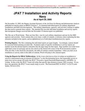 Primary view of object titled 'JPAT 7 Installation and Activity Reports dated 20 April 2005'.
