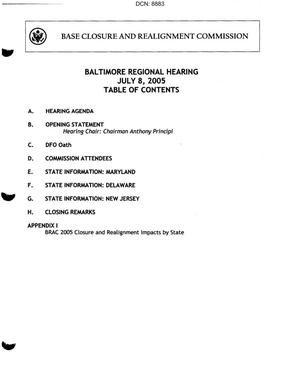 Primary view of object titled 'Baltimore, MD Regional Hearing Book dtd 8 July 2005'.