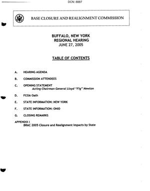 Primary view of object titled 'Buffalo, NY Regional Hearing Book dtd 27 June 2005'.
