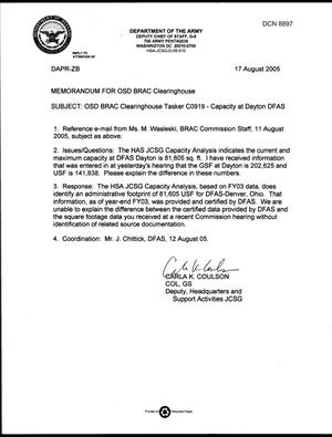 Primary view of object titled 'Department of Defense Clearinghouse Response: DoD Clearinghouse Response to a letter from the BRAC Commission pertaining to DFAS Dayton capacity.'.