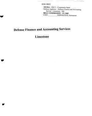 Primary view of object titled 'Defense Finance and Accounting Service, Limestone Community Input'.