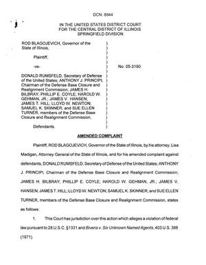 Primary view of object titled 'Illinois Governor Rod Blagojevich amended complaint against the BRAC Commission and the Secretary of Defense.'.