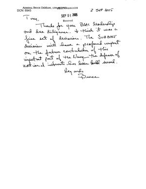 Primary view of object titled 'Letter from retired Admiral Bruce Demars to Chairman Principi.'.