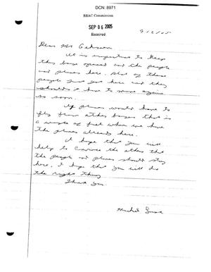 Primary view of object titled 'Letter from Michael Lusk to Commissioner Gehman'.