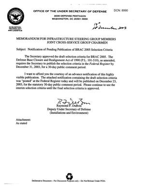 Primary view of object titled 'Memorandum - Subject: Notification of Pending Publication of BRAC 2005 Selection Criteria - From: Deputy Under Secretary of Defense(I&E)'.
