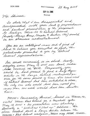Primary view of object titled 'Letter from Kim Anderson to Commissioner Skinner dtd 06 Sep 2005'.
