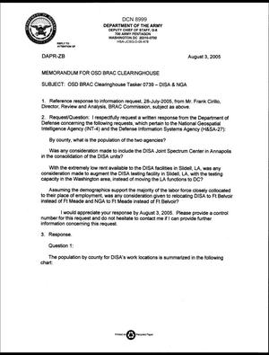 Primary view of object titled 'Department of Defense Clearinghouse Response: DoD Clearinghouse Response to a letter from the BRAC Commission pertaining to the National Geospatial Intelligence Agency and the Defense Information Systems Agency.'.