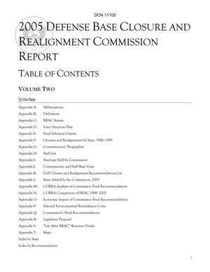 Primary view of object titled '2005 Defense Base Closure and Realignment Commission Report, Vol 2'.