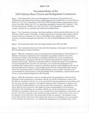 Primary view of object titled 'Procedural Rules of the 2005 Defense Base Closure and Realignment Commission'.