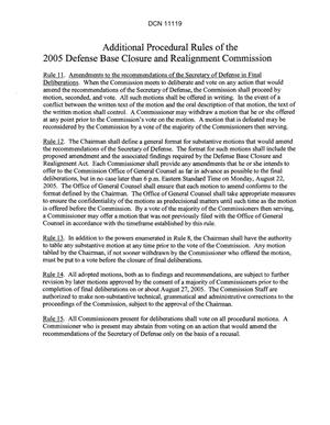 Primary view of object titled 'Additional Procedural Rules of the 2005 Defense Base Closure and Realignment Commission'.
