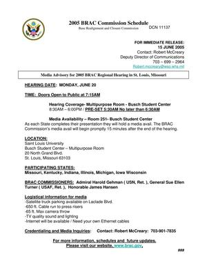 Primary view of object titled 'BRAC Commission Media Advisory for 2005 BRAC Regional Hearing in St. Louis, Missouri'.