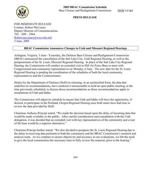 Primary view of object titled 'BRAC Commission Press Release: BRAC Commission Announces Changes to Utah and Missouri Regional Hearings'.
