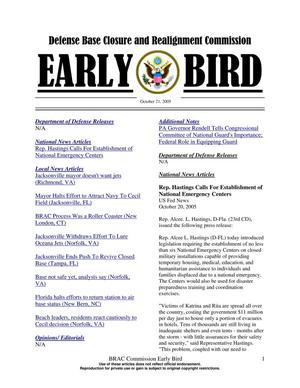 Primary view of object titled 'BRAC Early Bird 21 October 2005'.