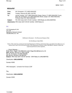 Primary view of object titled 'Email - FW: HRC Indian Q447-478-481 Certified - ODIN Ready.xls (UNCLASSIFIED)'.