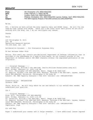 Primary view of object titled 'Email - FW: MAH Capacity Analysis 3 Feb 2005 (extract).xls (UNCLASSIFIED)'.