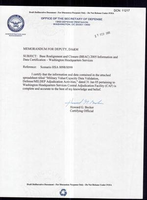 Primary view of object titled 'HSA-0099 WHS Certification Memo 31 Jan 05 SDC (17 Feb 05)'.