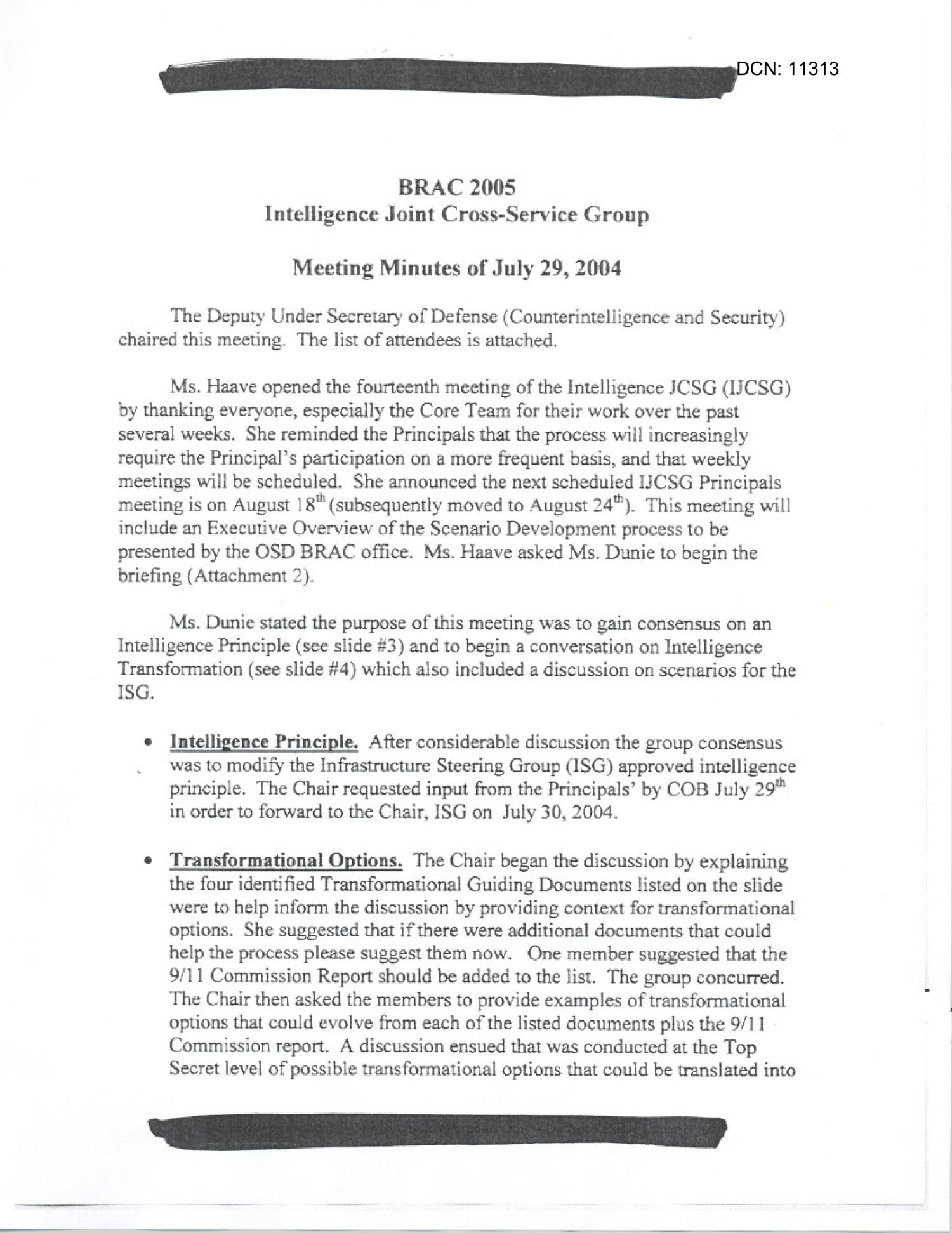 [Minutes: Intelligence Joint Cross-Service Group, July 29, 2004]                                                                                                      [Sequence #]: 1 of 14