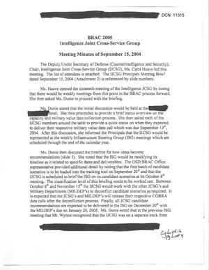 [Minutes: Intelligence Joint Cross-Service Group, September 15, 2004]
