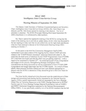 [Minutes: Intelligence Joint Cross-Service Group, September 29, 2004]