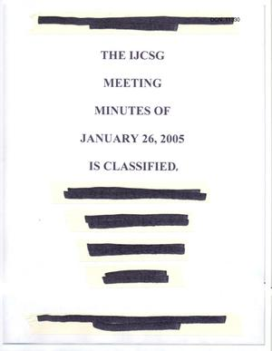 Primary view of object titled '[Minutes: Intelligence Joint Cross-Service Group, January 26, 2005]'.