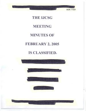 Primary view of object titled '[Minutes: Intelligence Joint Cross-Service Group, February 2, 2005]'.