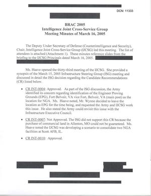 Primary view of object titled '[Minutes: Intelligence Joint Cross-Service Group, March 16, 2005]'.