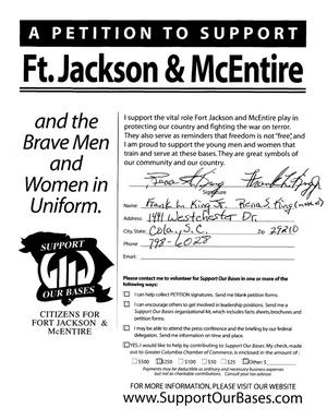 Primary view of object titled 'Volume II of a Petition in several volumes forwarded to the BRAC Commission on 06/14/05 by SC Senator Lindsey Graham in support of Fort Jackson and McEntire ANG Station.'.