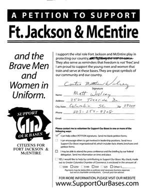 Primary view of object titled 'Petition in several volumes forwarded to the BRAC Commission on 06/14/05 by SC Senator Lindsey Graham in support of Fort Jackson and McEntire ANG Station.'.