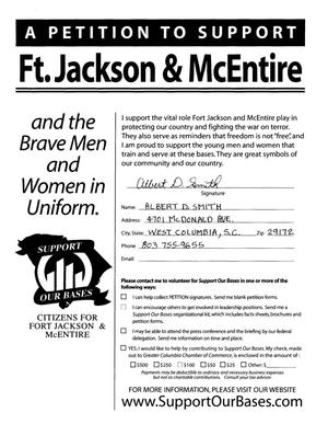 Primary view of object titled 'Volume VII of a Petition in several volumes forwarded to the BRAC Commission on 06/14/05 by SC Senator Lindsey Graham in support of Fort Jackson and McEntire ANG Station.'.