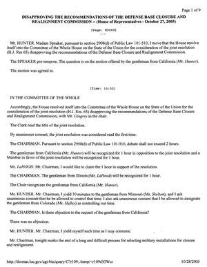Primary view of object titled 'Transcript of the House of Representatives Hearing to Disapprove the Recommendations of the Defense Base Closure and Realignment Commission - October 27, 2005'.
