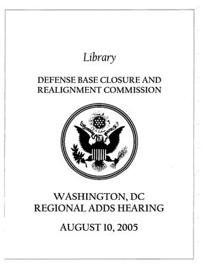 Primary view of object titled 'RH18 Regional Hearing Book - August 10, 2005 Washington DC'.