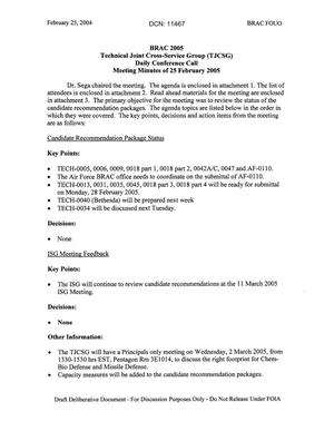 Primary view of object titled 'Technical JCSG 104T Minutes 25 Feb 05.pdf'.