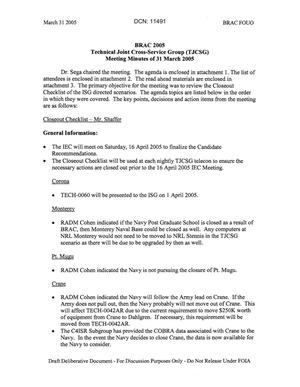 Primary view of object titled 'Technical JCSG 130 Minutes 31 Mar 05.pdf'.
