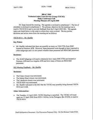 Primary view of object titled 'Technical JCSG 137T Minutes 08 April 05.pdf'.