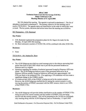 Primary view of object titled 'Technical JCSG 138T Minutes  11 April 05.pdf'.