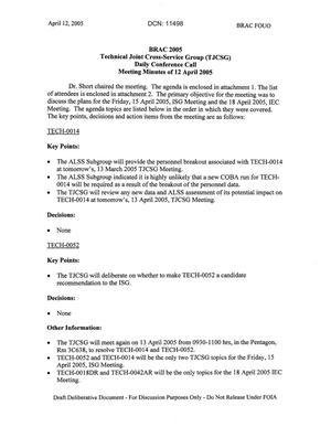 Primary view of object titled 'Technical JCSG 139T Minutes  12 April 05.pdf'.