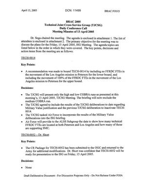Primary view of object titled 'Technical JCSG 140T Minutes  13 April 05.pdf'.