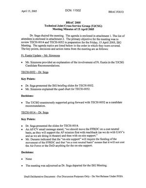 Primary view of object titled 'Technical JCSG 142 Minutes  15 April 05.pdf'.